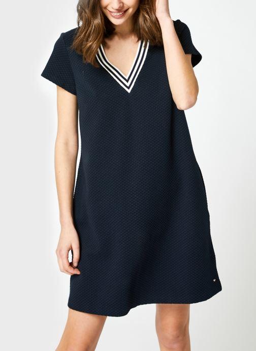 Vêtements Tommy Hilfiger Textured Shift Short Dress Ss Bleu vue droite