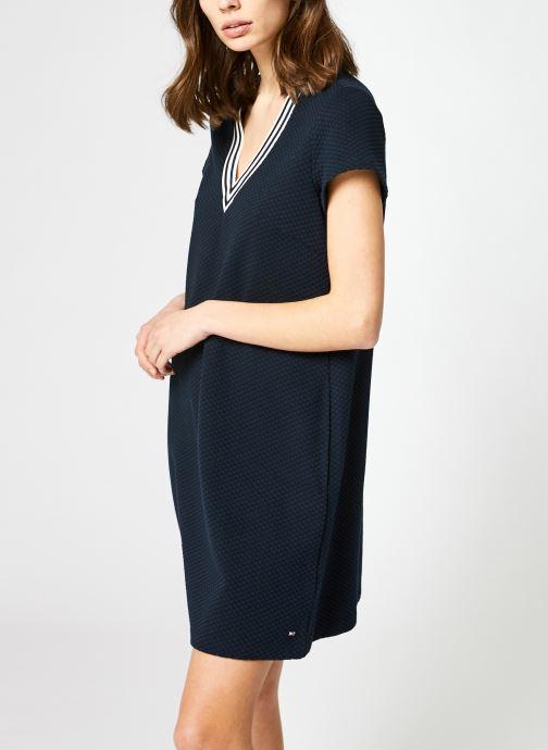 Vêtements Tommy Hilfiger Textured Shift Short Dress Ss Bleu vue détail/paire