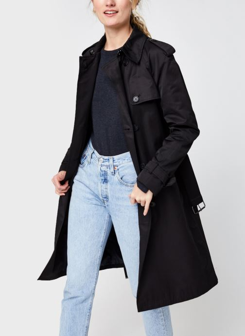 Kleding Calvin Klein Cotton Nylon Trench Coat Zwart detail