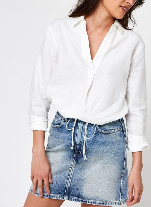 Kleding Calvin Klein Linen Ls Open Neck Shirt Wit detail