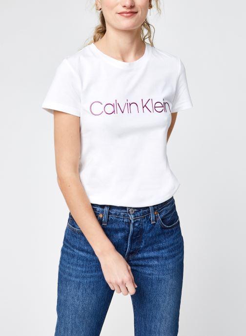 Kleding Calvin Klein Slim Fit Metallic Logo Tee Wit detail