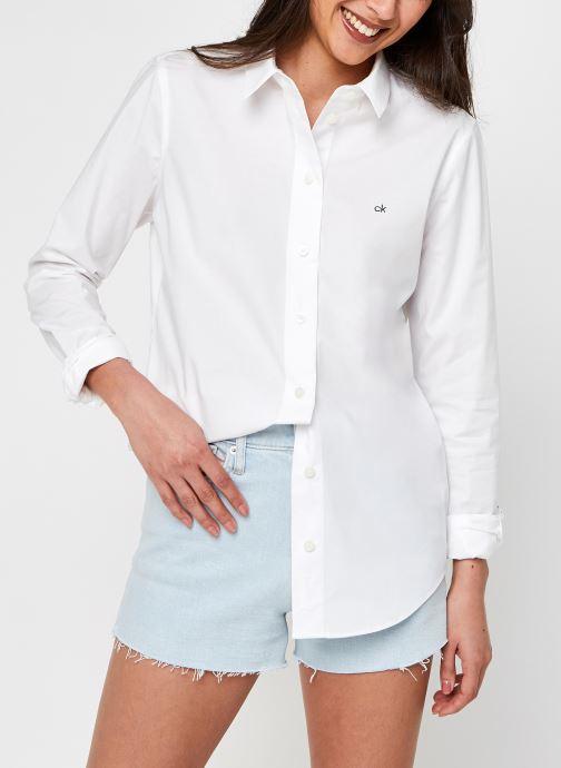 Vêtements Calvin Klein Slim Shirt Ls Blanc vue détail/paire