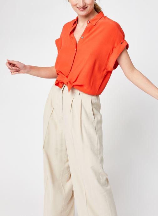 Kleding Calvin Klein Ss Turn Up Shirt Rood detail