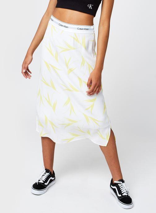 Vêtements Calvin Klein Viscose Rayon Pull On Midi Skirt Blanc vue détail/paire