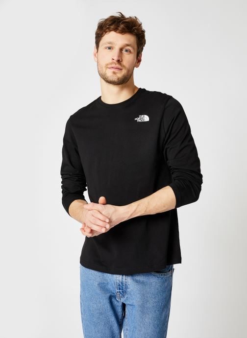 Kleding The North Face M L/S Red Box Tee Zwart detail