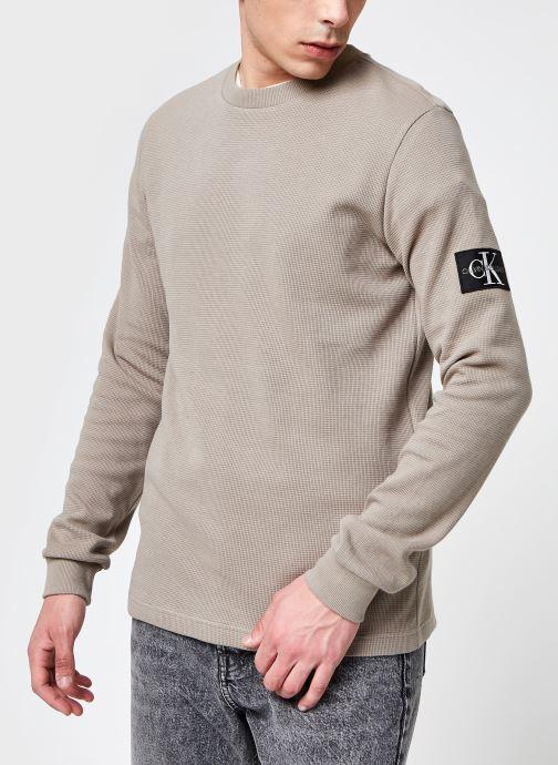 Vêtements Calvin Klein Jeans Monogram Badge Waffle Ls Tee Beige vue détail/paire