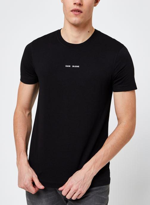 Kleding Calvin Klein Jeans Micro Branding Essential SS Tee Zwart detail