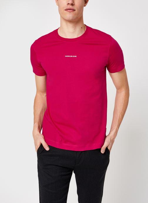 Ropa Calvin Klein Jeans Micro Branding Essential SS Tee Rojo vista de detalle / par