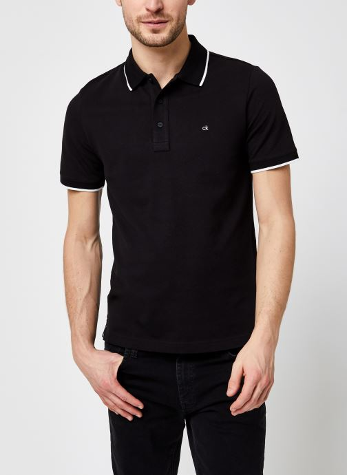 Kleding Calvin Klein Stretch Tipping Slim Polo Zwart detail