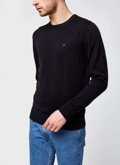 Kleding Calvin Klein Cotton Silk C-Neck Sweater Zwart detail