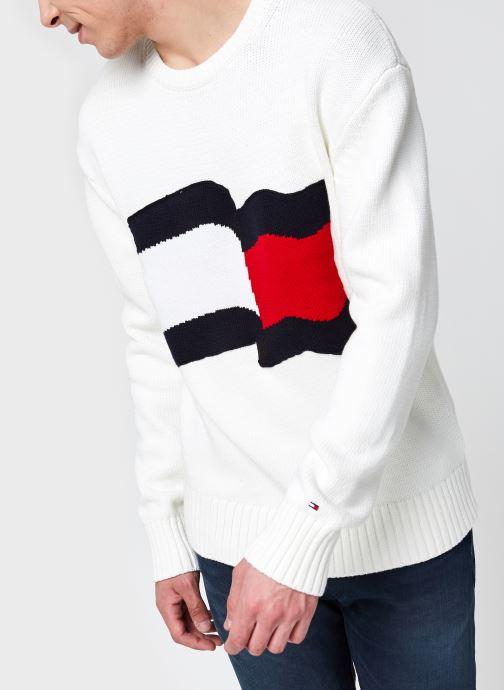 Vêtements Tommy Hilfiger Big Graphic Sweater Blanc vue détail/paire