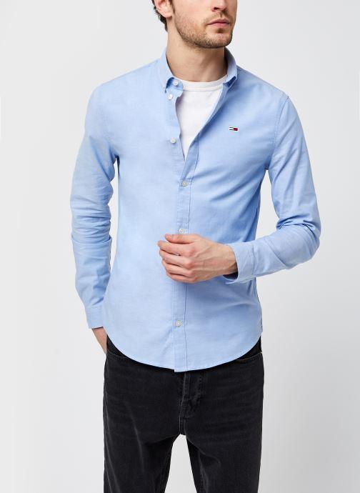 Vêtements Tommy Jeans TJM Slim Stretch Oxford Shirt Eco Bleu vue détail/paire