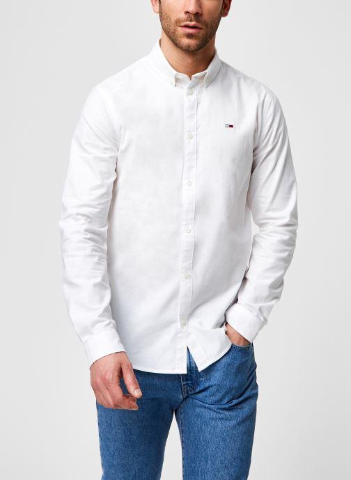Vêtements Tommy Jeans TJM Slim Stretch Oxford Shirt Eco Blanc vue détail/paire