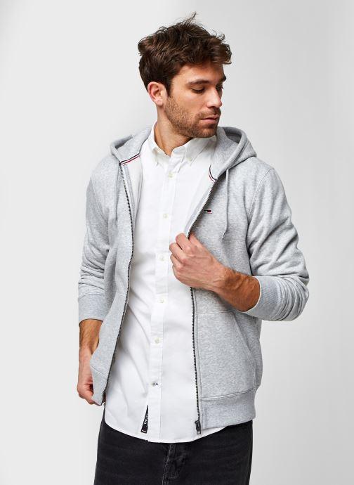 Kleding Tommy Jeans TJM Regular Fleece Zip Hood Eco Grijs detail