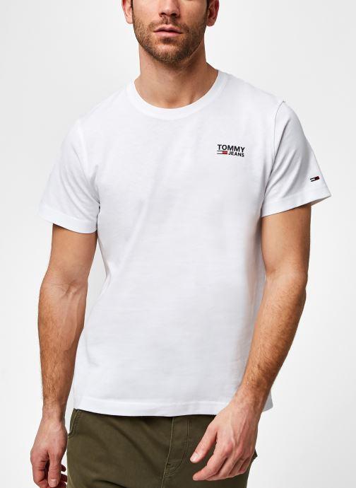 Vêtements Tommy Jeans TJM Regular Corp Logo Crew Neck Eco Blanc vue détail/paire