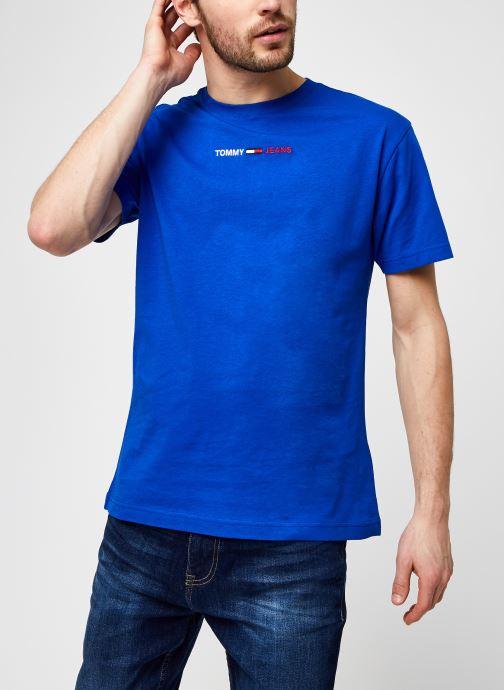 Kleding Tommy Jeans TJM Linear Logo Tee Blauw detail