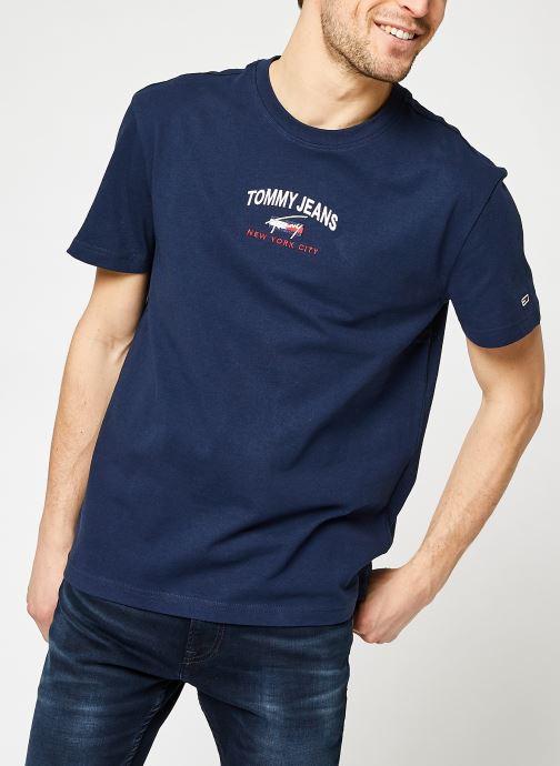 Vêtements Tommy Jeans TJM Timeless Tommy Script Tee Bleu vue détail/paire