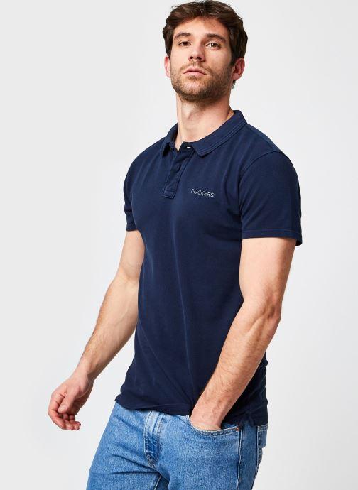 Vêtements Dockers Garment Dyed Pique Polo Bleu vue détail/paire