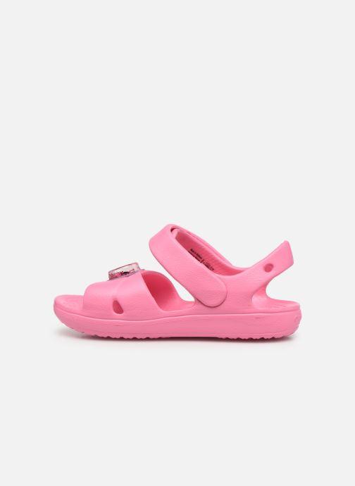 Sandalen Crocs Classic Cross Strap Charm Sandal T rosa ansicht von vorne