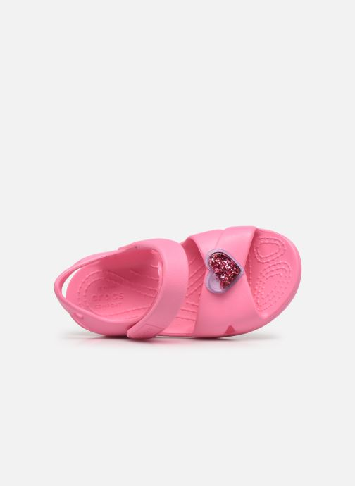 Sandalen Crocs Classic Cross Strap Charm Sandal T rosa ansicht von links