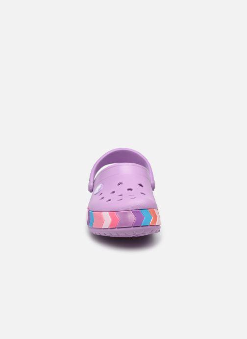 Sandalen Crocs Crocband Chevron Beaded Clog Kids lila schuhe getragen