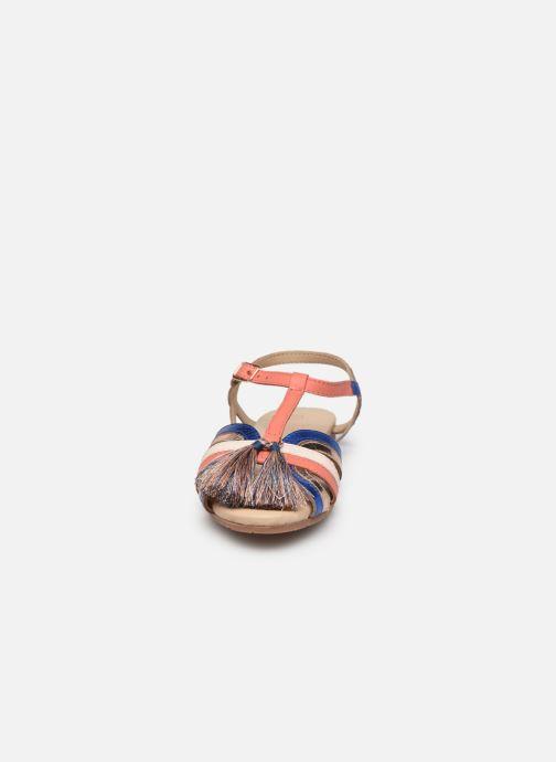 Sandalen Carrement Beau Sandales pompons rot schuhe getragen