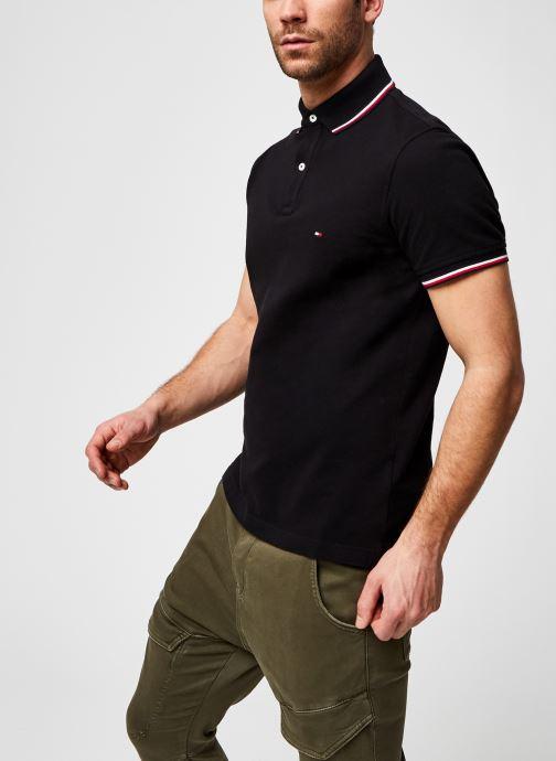 Kleding Tommy Hilfiger Polo Organic Coton Slim Zwart detail