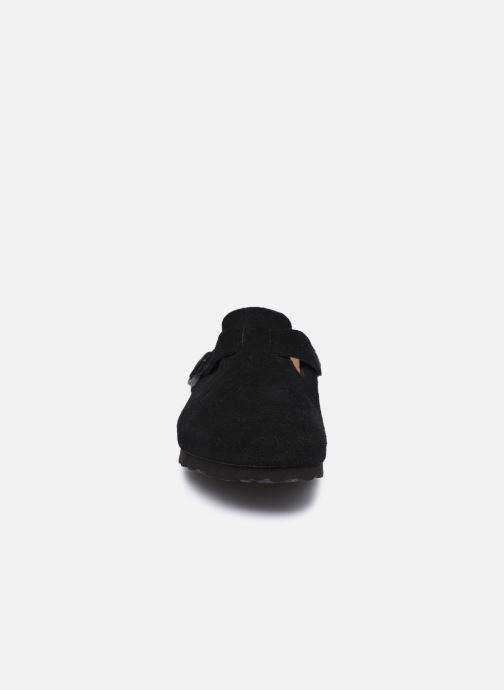 Hausschuhe Birkenstock Boston W schwarz schuhe getragen