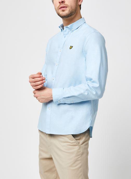 Kleding Lyle & Scott Cotton Linen Shirt Blauw detail