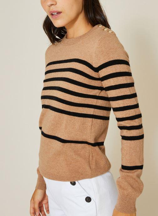 Vêtements Monoprix Femme Pull col roulé à rayures Marron vue détail/paire