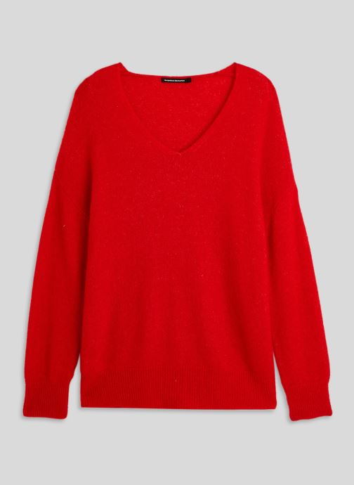 Vêtements Monoprix Femme Pull large col V en alpaga Orange vue face