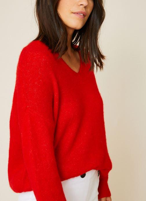 Vêtements Monoprix Femme Pull large col V en alpaga Orange vue détail/paire