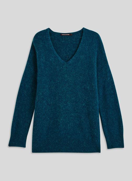 Vêtements Monoprix Femme Pull large col V en alpaga Bleu vue face