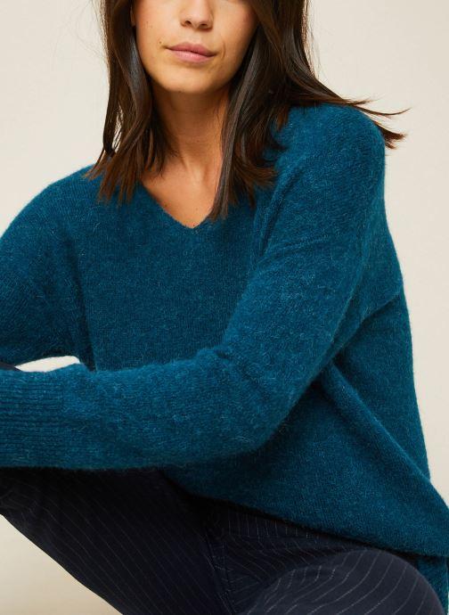 Vêtements Monoprix Femme Pull large col V en alpaga Bleu vue détail/paire