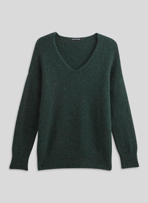 Kleding Monoprix Femme Pull large col V en alpaga Groen voorkant