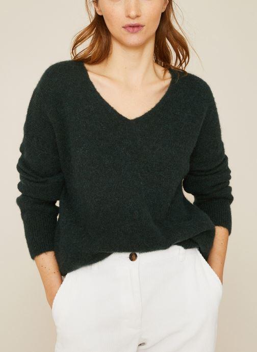 Vêtements Monoprix Femme Pull large col V en alpaga Vert vue détail/paire