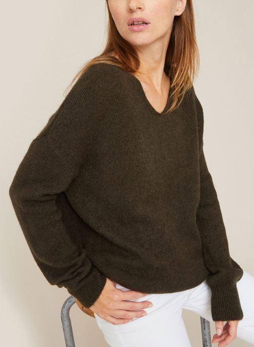 Vêtements Monoprix Femme Pull large col V en alpaga Gris vue détail/paire