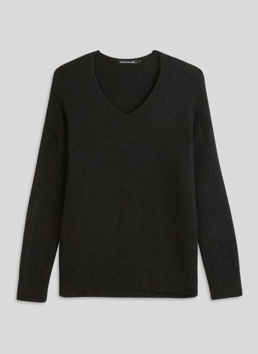 Vêtements Monoprix Femme Pull large col V en alpaga Noir vue face