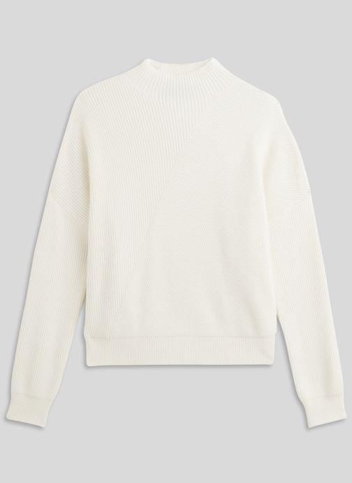 Kleding Monoprix Femme Pull côtelé col montant Wit voorkant