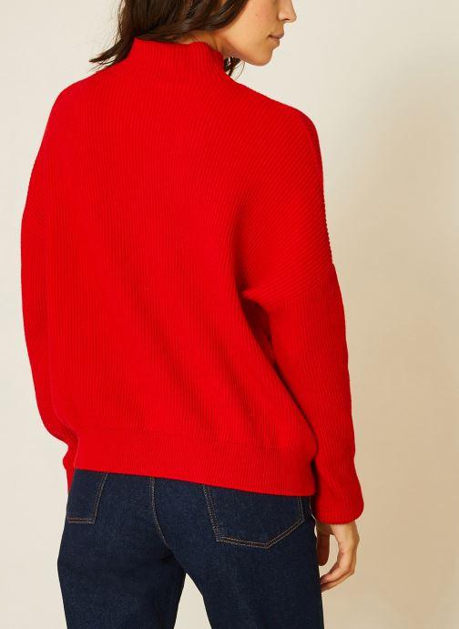 Vêtements Monoprix Femme Pull côtelé col montant Rouge vue portées chaussures