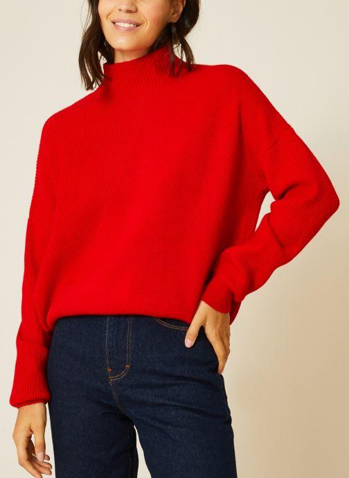 Vêtements Monoprix Femme Pull côtelé col montant Rouge vue détail/paire