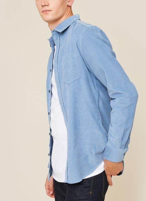 Vêtements Monoprix Homme Chemise velours coupe regular en coton BIO Bleu vue détail/paire