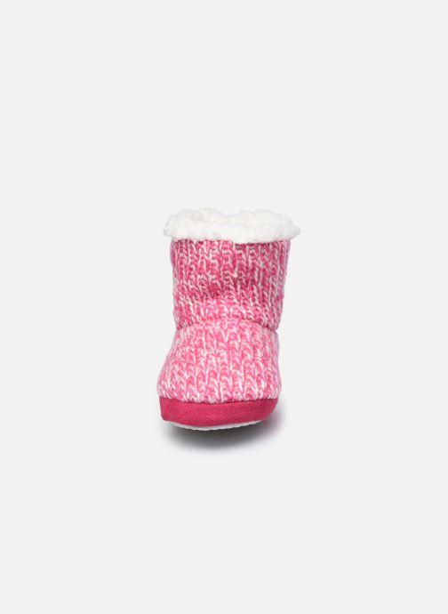 Chaussons Sarenza Wear Chaussons montants cœur enfant fille Rose vue portées chaussures