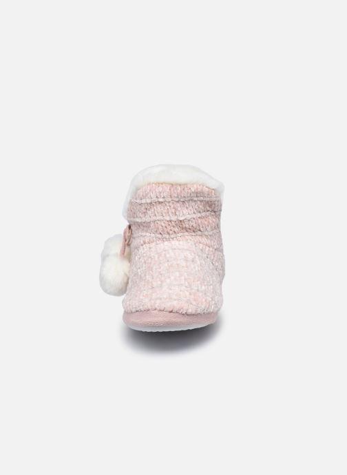 Pantuflas Sarenza Wear Chaussons montants tricot et pompons enfant fille Rosa vista del modelo