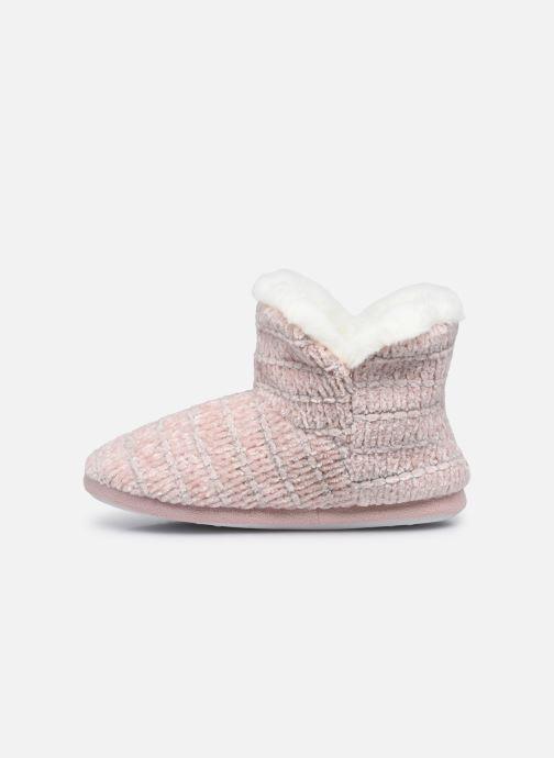 Pantuflas Sarenza Wear Chaussons montants tricot et pompons enfant fille Rosa vista de frente