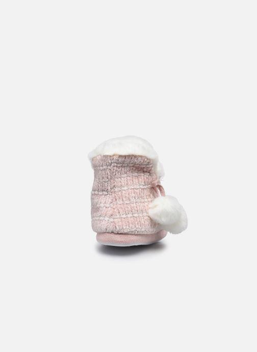 Pantuflas Sarenza Wear Chaussons montants tricot et pompons enfant fille Rosa vista lateral derecha