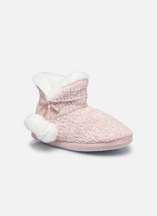 Pantuflas Sarenza Wear Chaussons montants tricot et pompons enfant fille Rosa vista de detalle / par
