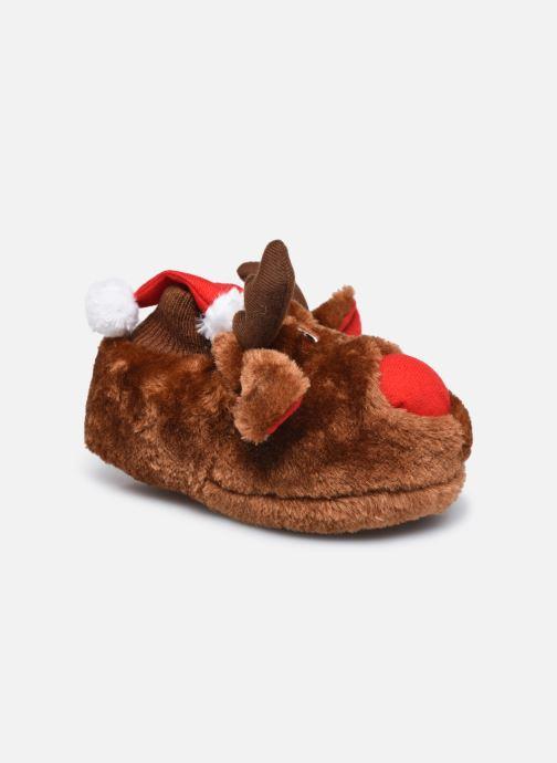 Pantoffels Sarenza Wear Chaussons de noel 3D enfant Bruin detail