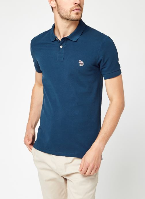 Kleding PS Paul Smith Mens Slim Fit Ss Polo Shirt Blauw detail