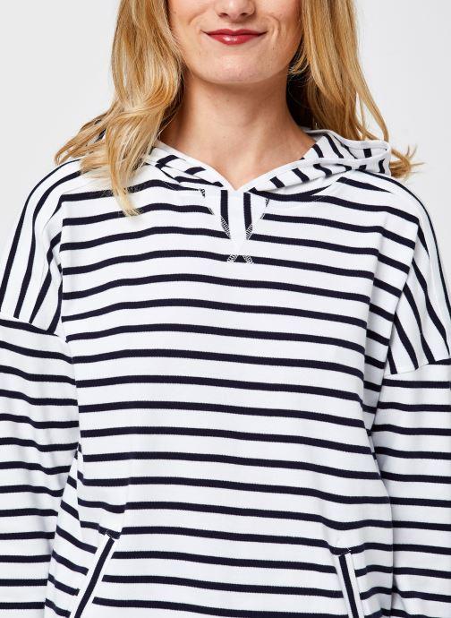 Vêtements Armor Lux Marinière à Capuche FEMME Blanc vue face